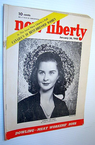Image for New Liberty Magazine, January 24 1948 - Barbara Ann Scott Cover Photo / Canada's Ten Best-Dressed Women