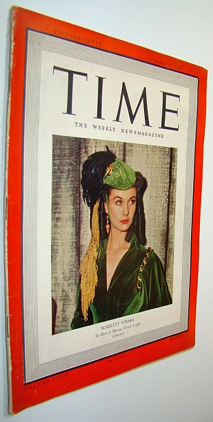 Image for Time - The Weekly News Magazine, December 25, 1939 - Scarlett O'Hara / Vivien Leigh Cover Photo / The Battle of Uruguay4