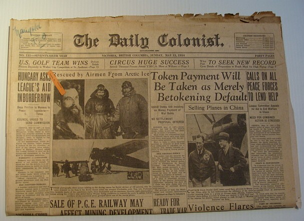 Image for The Daily Colonist, Sunday May 13, 1934, Victoria, British Columbia Newspaper