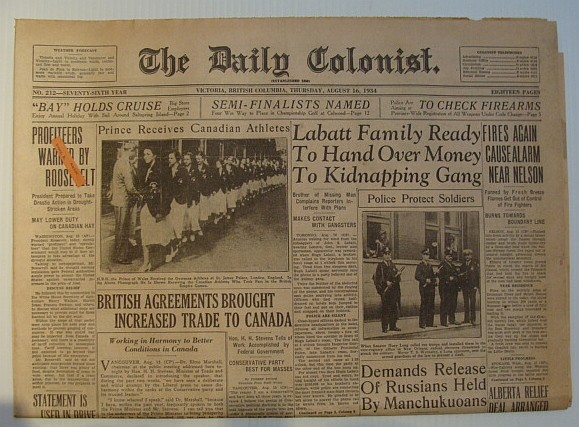 Image for The Daily Colonist, Thursday August 16, 1934, Victoria, British Columbia Newspaper