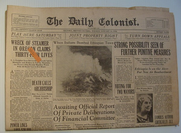 Image for The Daily Colonist, Tuesday, January 14, 1936,  Victoria, British Columbia Newspaper