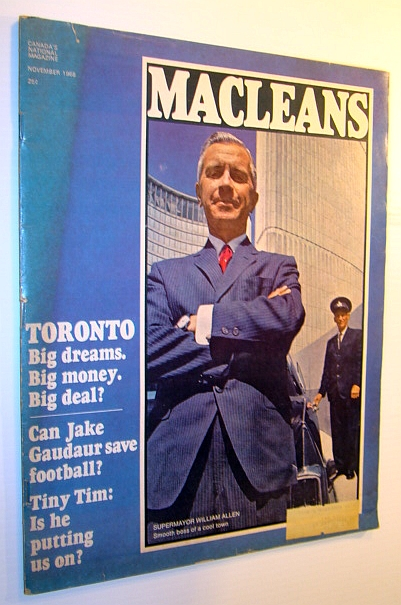 Image for Maclean's Magazine, November 1968: Cover Photo of Toronto Supermayor William Allen