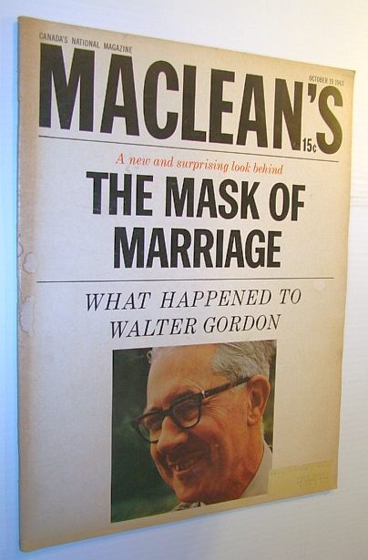 Image for Maclean's Magazine, October 19, 1963 - Walter Gordon Cover Photo