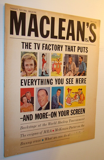 Image for Maclean's Magazine, May 4, 1963: SCREEN GEMS - THE TV FACTORY THAT PUTS EVERYTHING ON YOUR SCREEN