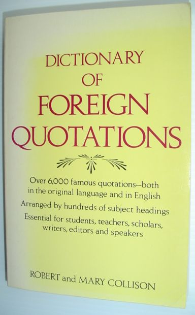 Image for Dictionary of foreign quotations