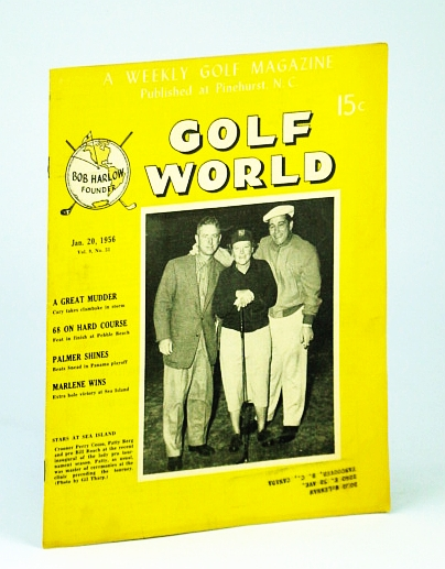 Image for Golf World - A Weekly Golf Magazine, Jan. (January) 20, 1956, Vol. 9, No. 33 - Cover Photo of Singer Perry Como, Patty Berg, and Bil Roach