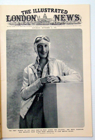Image for The Illustrated London News, September (Sept.) 12, 1936: Lovely Cover Photo Portrait of Aviator Mrs. Beryll Markham
