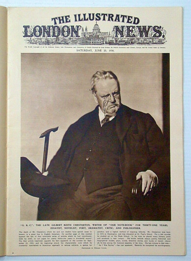 Image for The Illustrated London News, June 20, 1936: Cover Photo Portrait of the late G. K. (Gilbert Keith) Chesterton / Arab Riots in Palestine