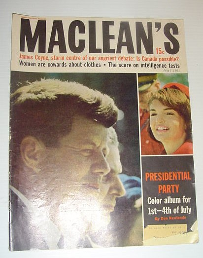 Image for Maclean's Magazine, July 1, 1961 - JFK Cover Photo / George Cook Defused Bombs in WWII