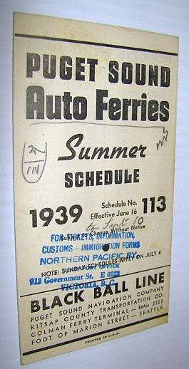 Image for 1939 Puget Sound Auto Ferries Summer Schedule (#113)
