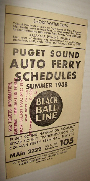 Image for Puget Sound Auto Ferry Schedules - Summer 1938 (#105)