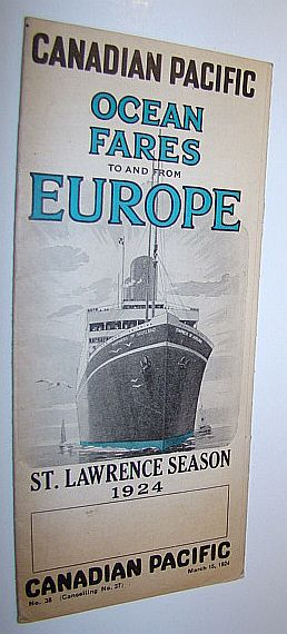 Image for Canadian Pacific Ocean Fares to and from Europe - St. Lawrence Season 1924 - No. 38 (Cancelling No. 37), March 15, 1924
