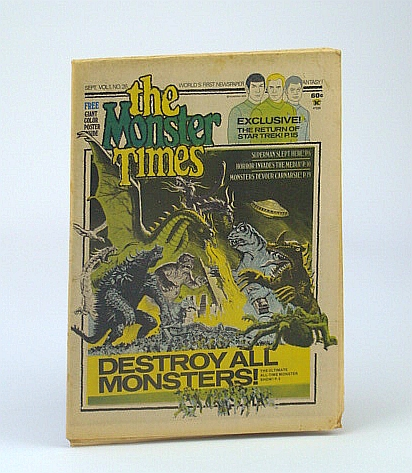 Image for The Monster Times - The World's First Newspaper of Horror, Sci-Fi and Fantasy, Volume 1, No. 26 - September (Sept.) 1973  - Destroy All Monsters!