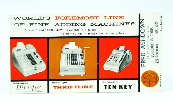Image for Burroughs Corp. Ink Blotter / Adding Machine Advertisement