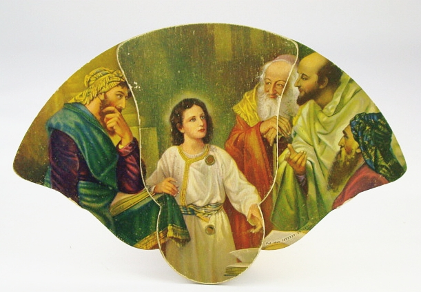 Image for Frank H. Klie-Designed 3-Panel Folding Advertising Fan:  Illustration Features Jesus Christ with Elders