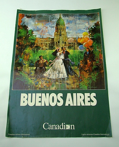 Image for Canadian Airlines International (CAI) Advertising Poster - Buenos Aires (Argentina) (ADV116 7/87) - With Colour Illustration By Stewart Sherwood