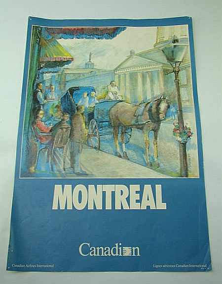 Image for Canadian Airlines International (CAI) Advertising Poster - Montreal (ADV107 7/87) - With Colour Illustration By G. Juhasz