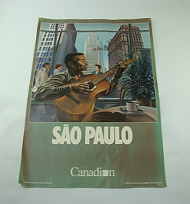 Image for Canadian Airlines International (CAI) Advertising Poster - Sao Paulo (Brazil)  (ADV122 6/87) - With Colour Illustration By Jorge Veloso