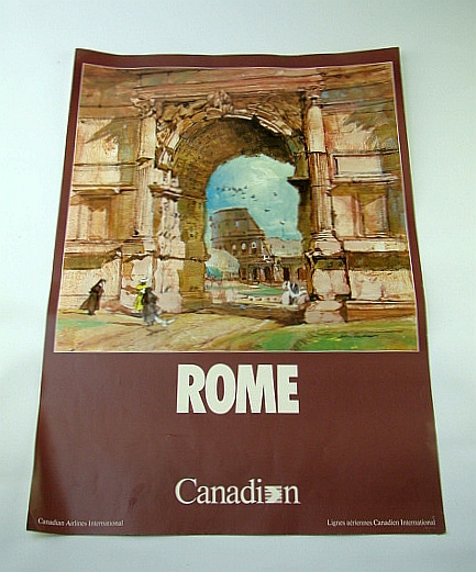 Image for Canadian Airlines International (CAI) Advertising Poster - Rome (Italy)  (ADV120 7/87) - With Colour Illustration By Don Anderson