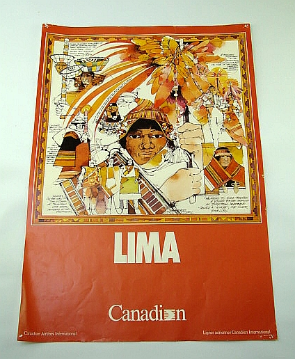 Image for Canadian Airlines International (CAI) Advertising Poster - Lima (Peru)  (ADV114 7/87) - With Colour Illustration By Heather Woodall