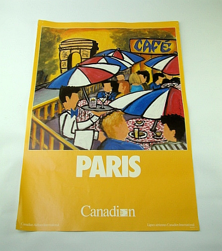 Image for Canadian Airlines International (CAI) Advertising Poster - Paris (France)  (ADV136 6/90) - With Colour Illustration By Kerry Reynolds