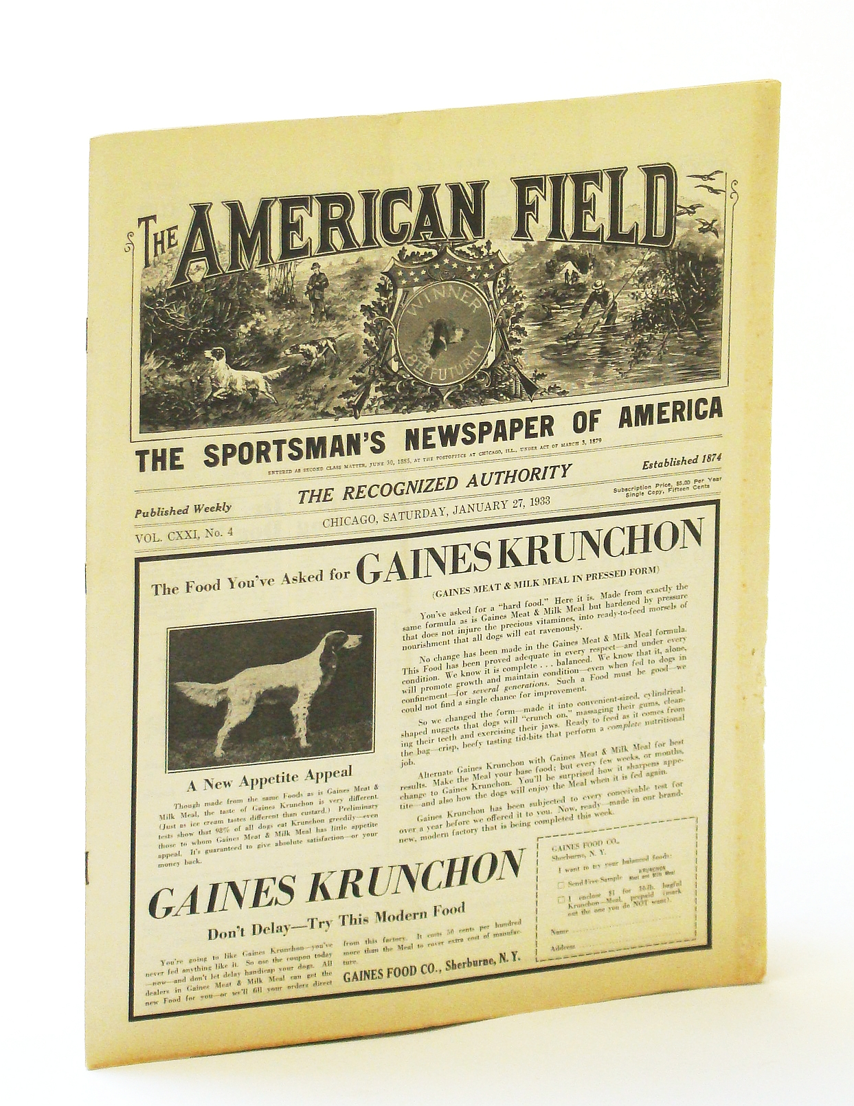 Image for The American Field - The Sportsman's Newspaper of America, Vol. CXXI, No. 4, Saturday, January [Jan.] 27, 1933