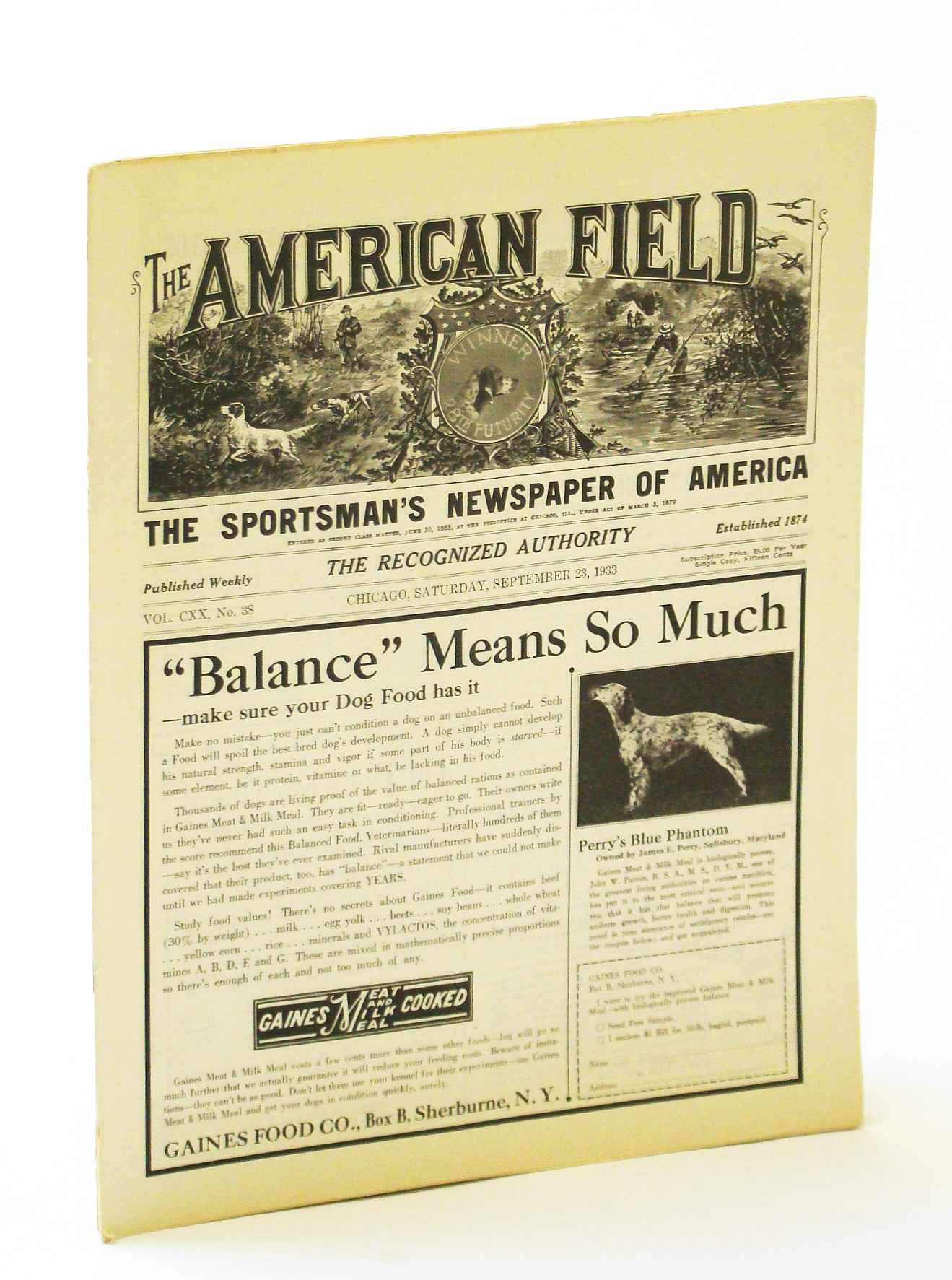 Image for The American Field - The Sportsman's Newspaper [Magazine] of America, September [Sept.] 23, 1933, Vol. CXX, No. 38 - All-America Prairie Chicken Trials