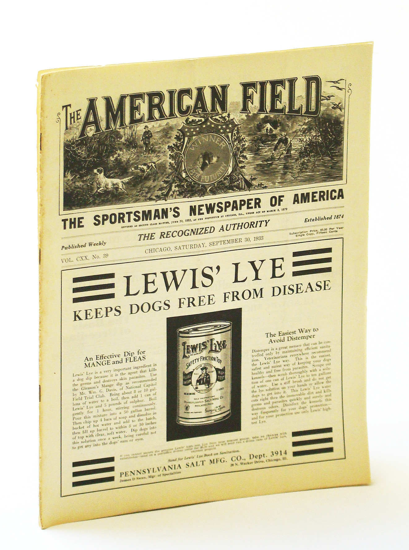 Image for The American Field - The Sportsman's Newspaper [Magazine] of America, September [Sept.] 30, 1933, Vol. CXX, No. 39 - A New Deal for America's Water-Fowl