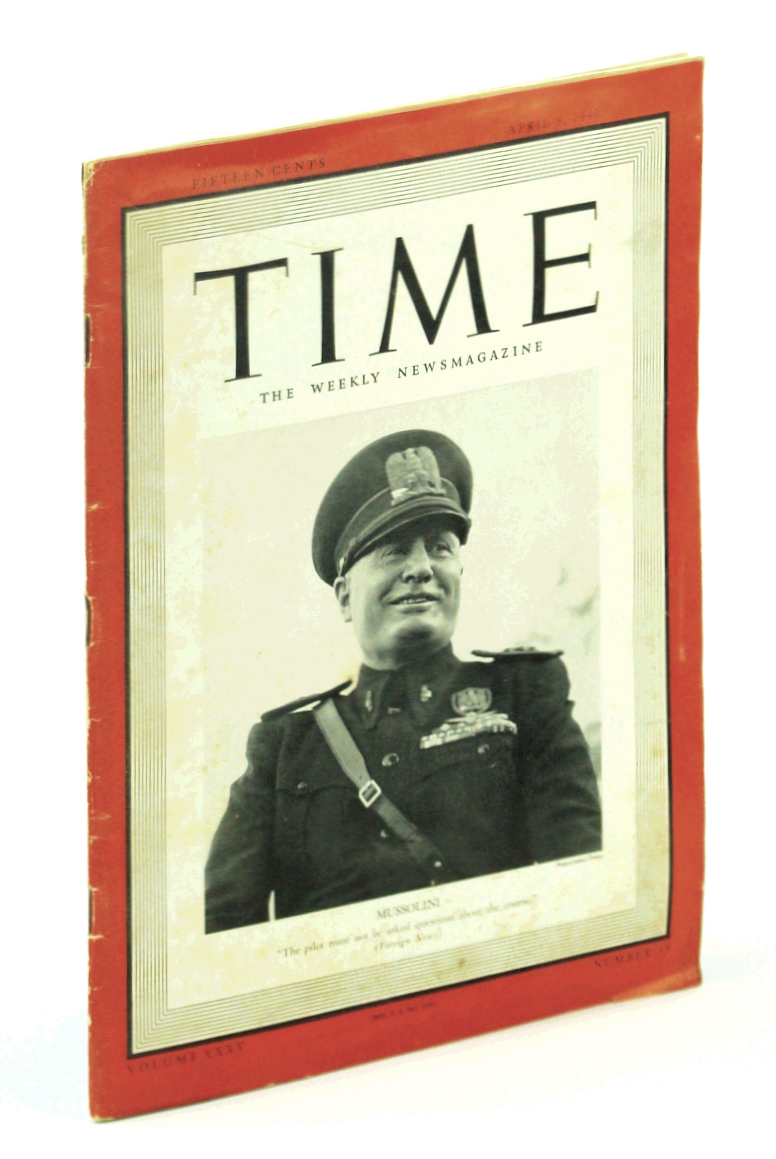 Image for Time, the Weekly Newsmagazine : April 8, 1940 Volume XXXV Number 15