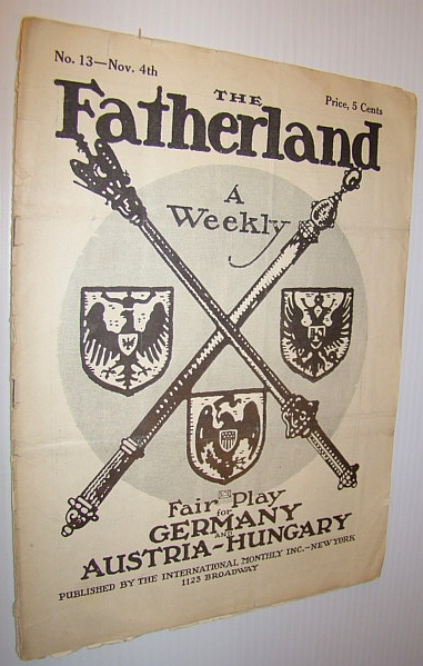 Image for The Fatherland - Fair Play for Germany and Austria-Hungary, November 4th, 1914