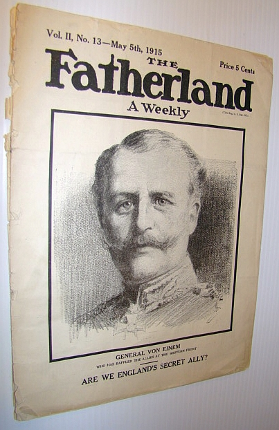 Image for The Fatherland - Fair Play for Germany and Austria-Hungary, May 5th, 1915 - Cover Illustration of General Von Einem