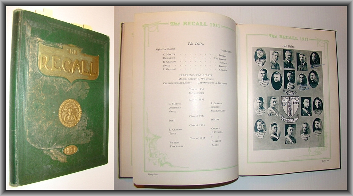 "Image for The Recall, Volume IX 1931 - The Year Book (Yearbook) of the Senior Class of the Western Military Academy - Featuring U.S. World War II Heroes Edward ""Butch"" O'Hare and Paul Tibbets"
