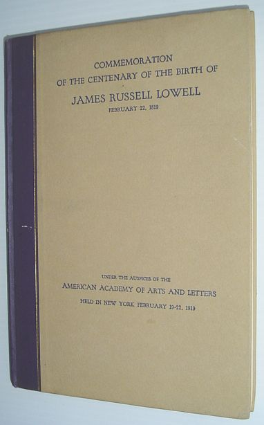 Image for Commemoration of the Centenary of the Birth of James Russell Lowell