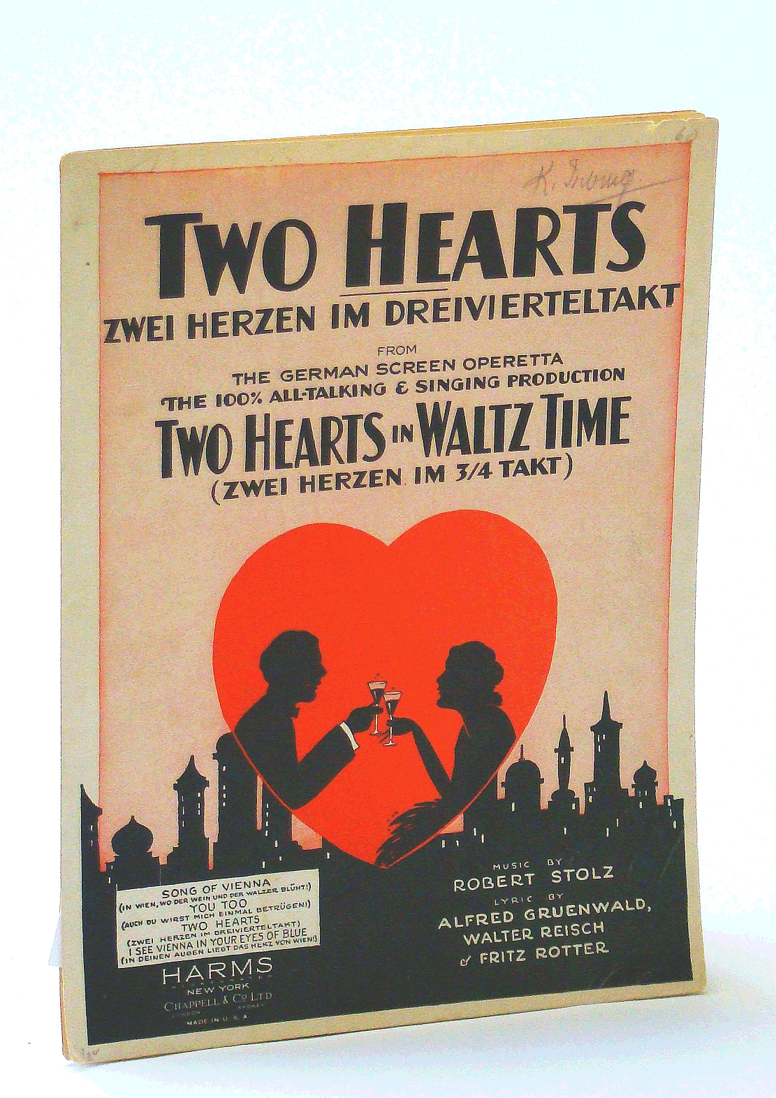 Image for TWO HEARTS (ZWEI HERZEN IN 3/4 TAKT) (Robert Stolz SHEET MUSIC) 1930 from the German screen operetta TWO HEARTS IN WALTZ TIME, Excellent condition