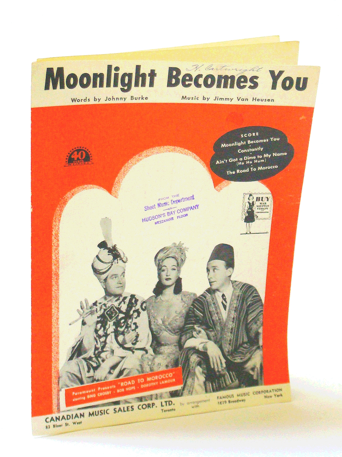 Image for Moonlight Becomes You in Road to Morocco featuring Bing Crosby, Bob Hope, Dorothy Lamour ; Vintage Vocal, Piano, Chords Sheet Music