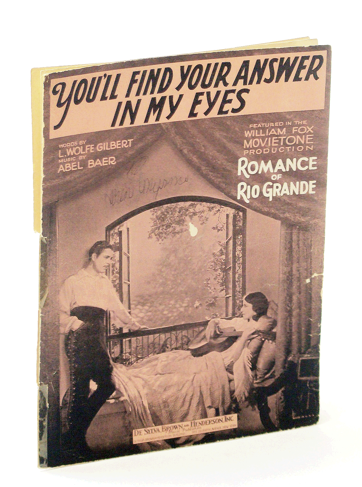 Image for You'll Find Your Answer In My Eyes Vintage 1929 Sheet Music from the movie Romance of Rio Grande