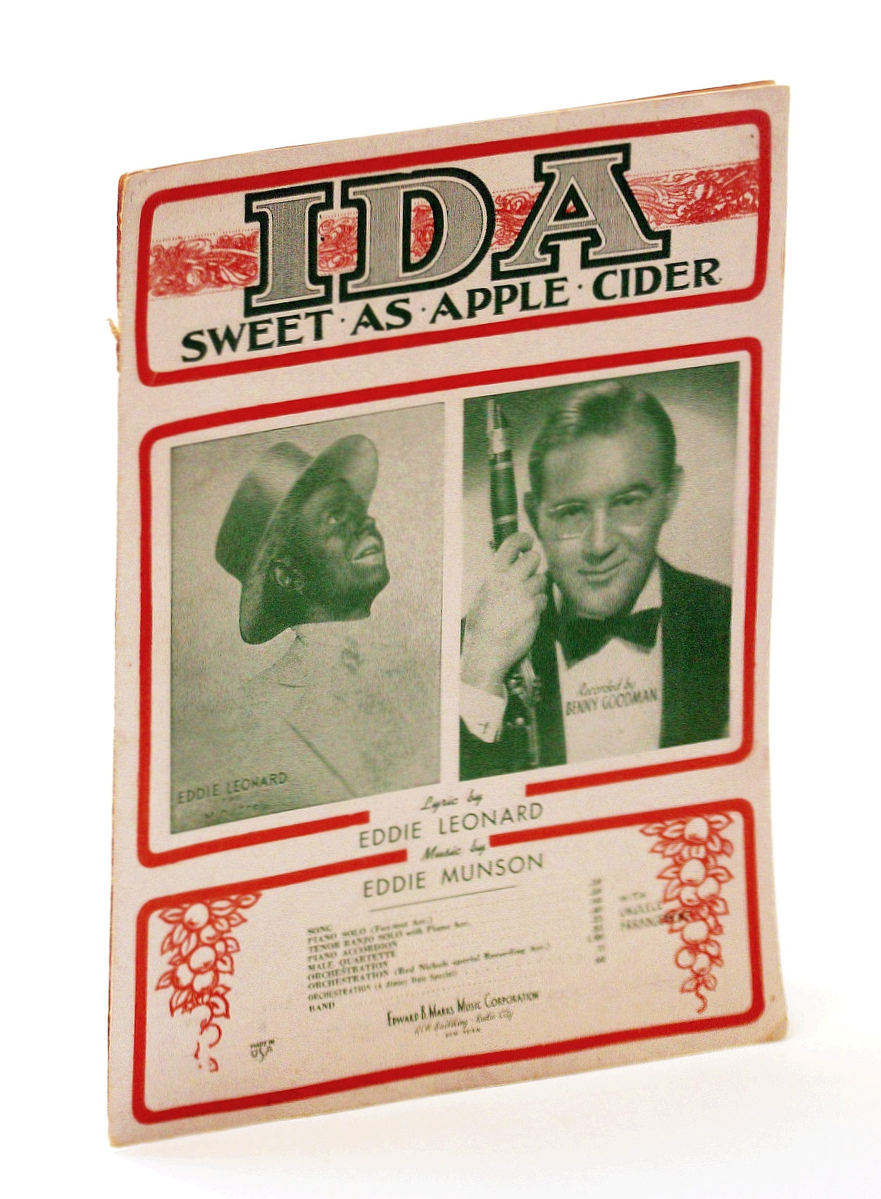 Image for Ida! Sweet as Apple Cider: Sheet Music for Voice and Piano with Ukulele Chords - Cover Photo of Eddie Leonard in Tophat and Blackface