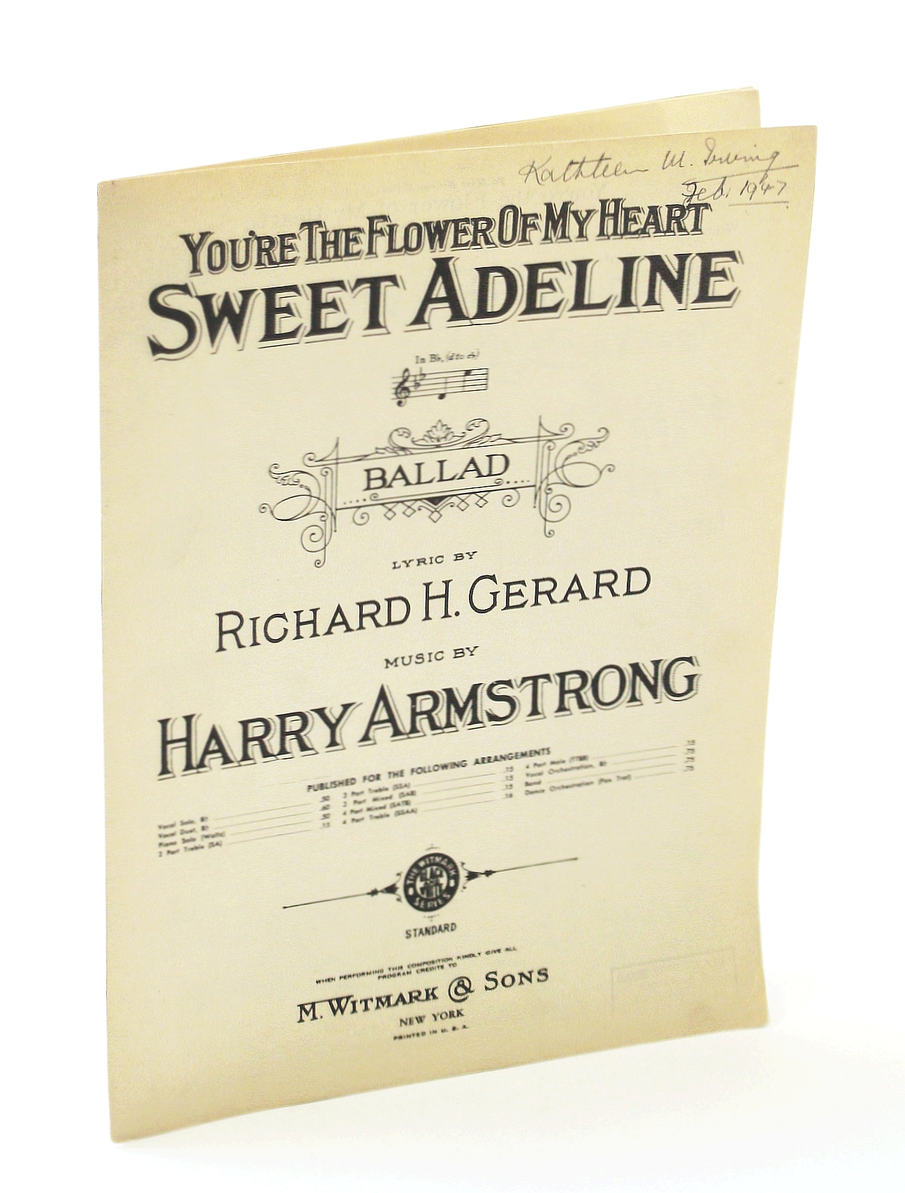 "Image for 6003 YOU'RE THE FLOWER OF MY HEART "" SWEET ADELINE "" (SOLO in Bb ) BALLAD * LYRIC BY RICHARD H. GERARD * MUSIC BY HARRY ARMSTRONG 1913"