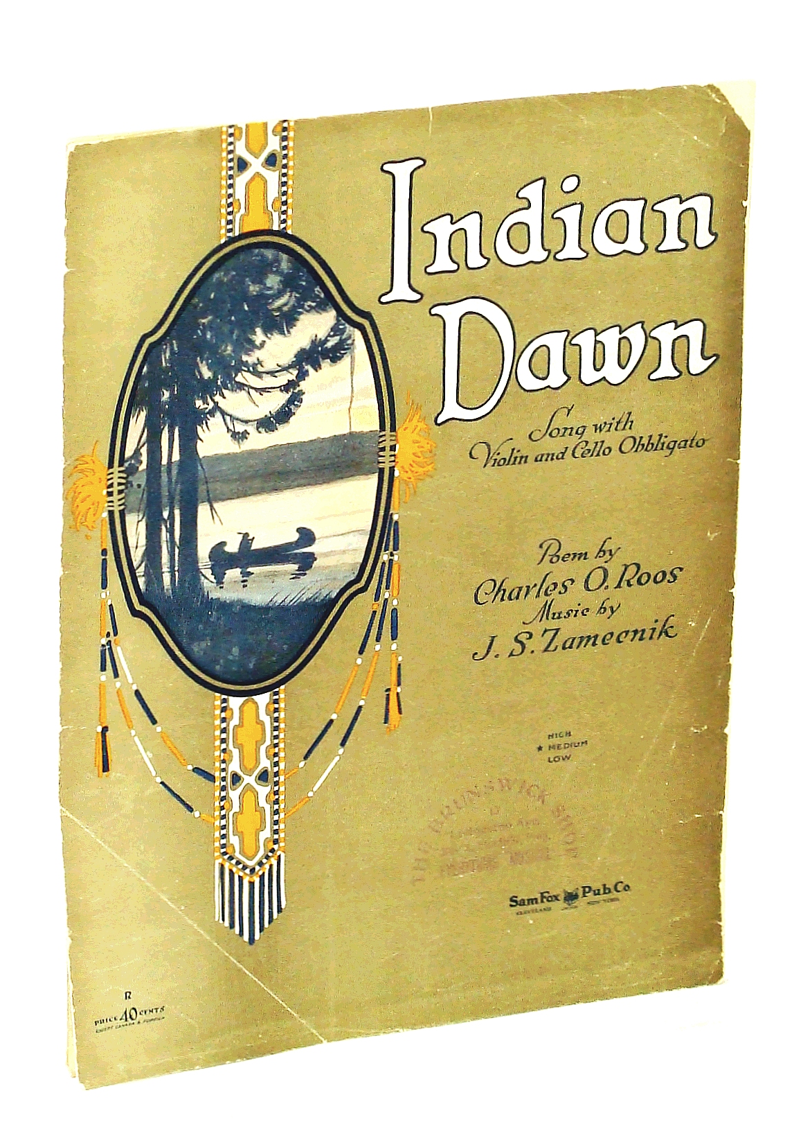 Image for Indian Dawn: Song with Violin and Cello Obbligato [Sheet Music - Medium]