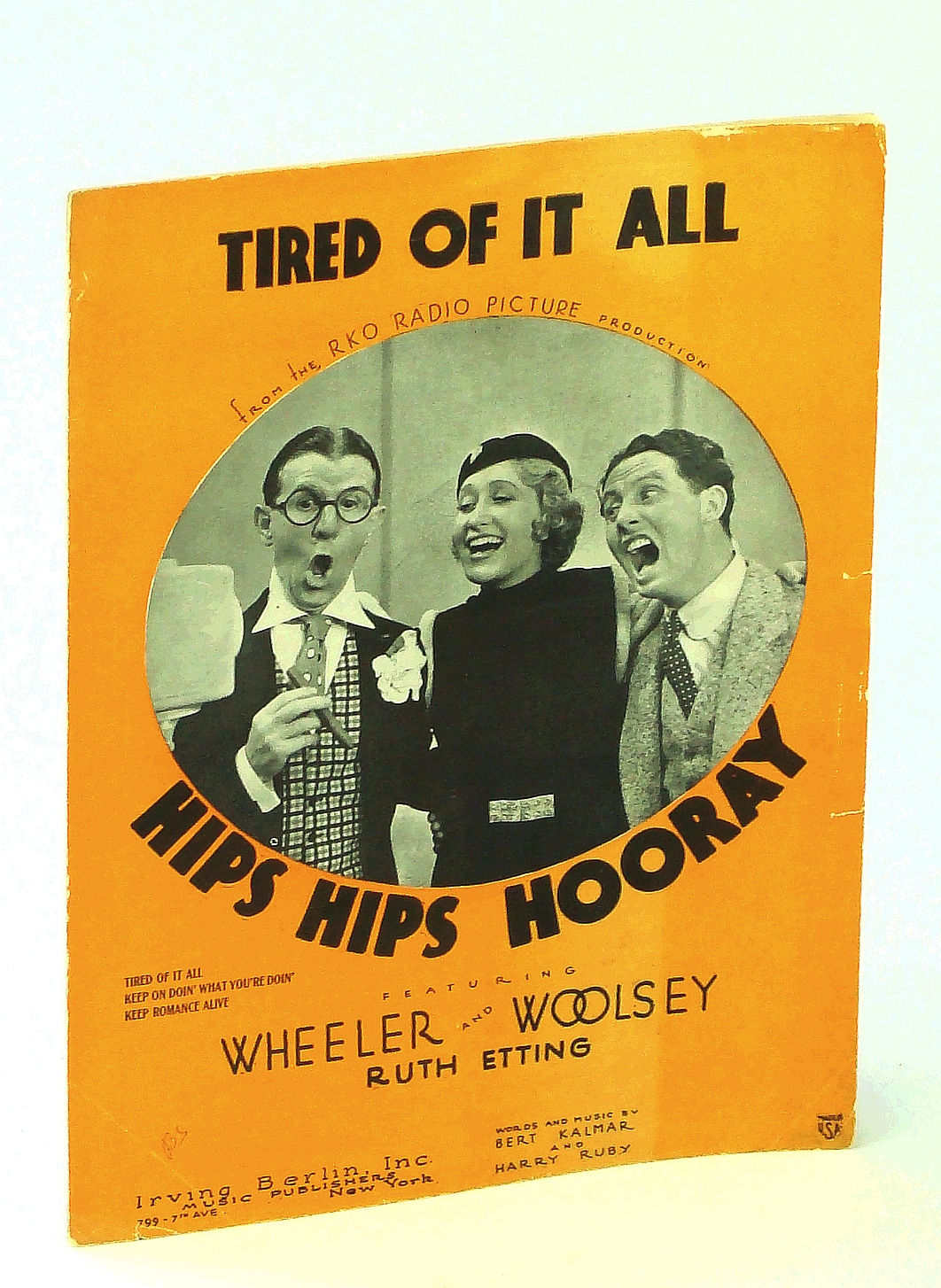 "Image for Tired Of It All: Sheet Music for Voice and Piano with Ukulele Chords - From the RKO Radio Picture Production ""Hips Hips Hooray"" Featuring Bert Wheeler, Robert Woolsey and Ruth Etting"