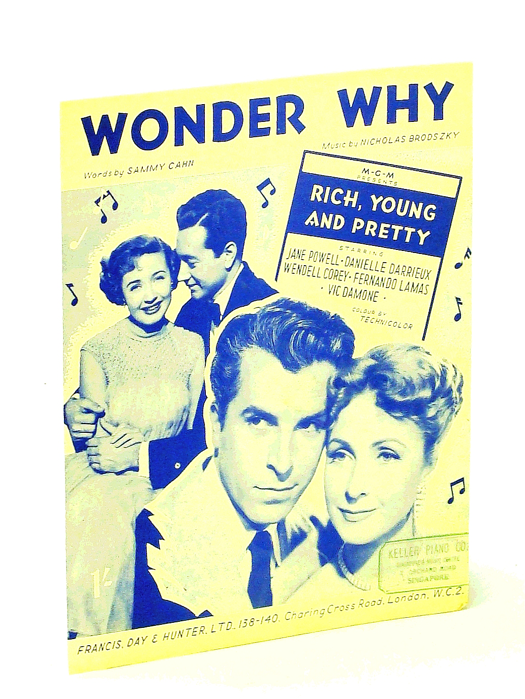 Image for Wonder Why - Sheet Music for Voice and Piano with Ukulele Chords - Cover Photo of Stars from the MGM Movie 'Rich, Young and Pretty'