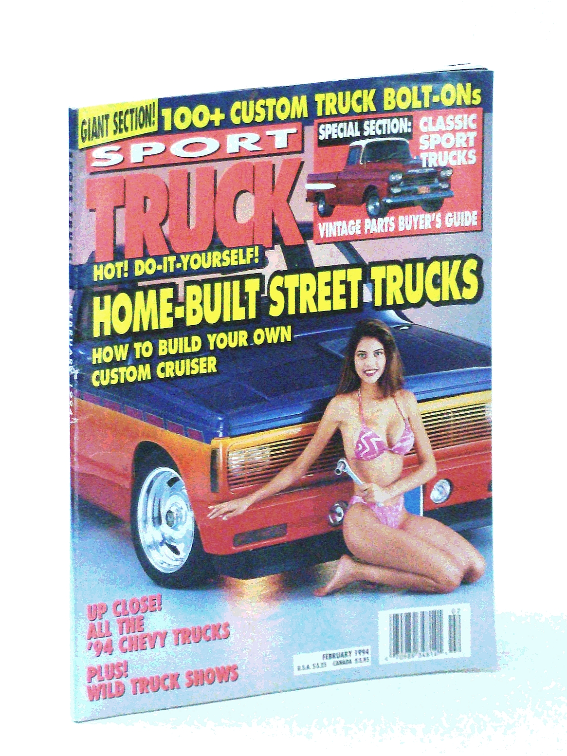 Image for Sport Truck Magazine, February [Feb.] 1994: Home-Built Street Trucks / Michelle Thomas Cover Photo