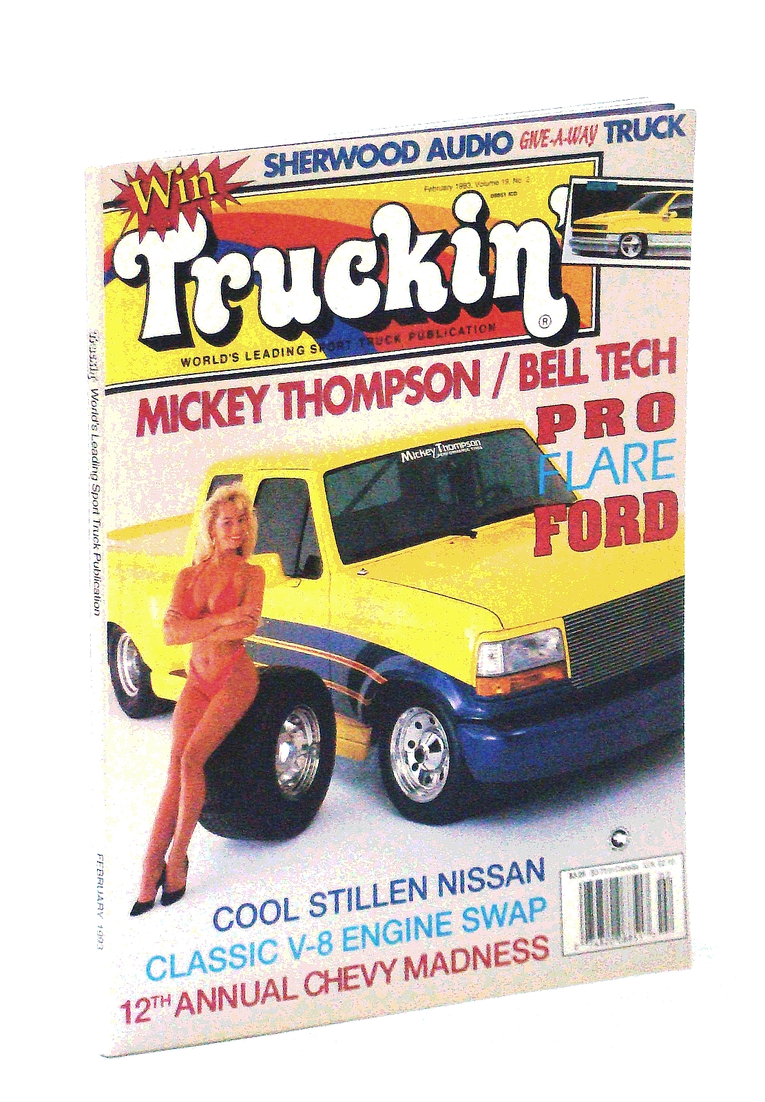 Image for Truckin' Magazine, February [Feb.] 1993: Cover Photo of Mickey Thompson / Bell Tech Pro-Flare Ford with Illene Voss