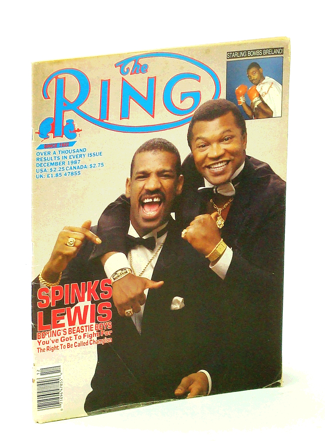 Image for THE RING Boxing Magazine. December 1987 Issue. Spinks & Lewis cover