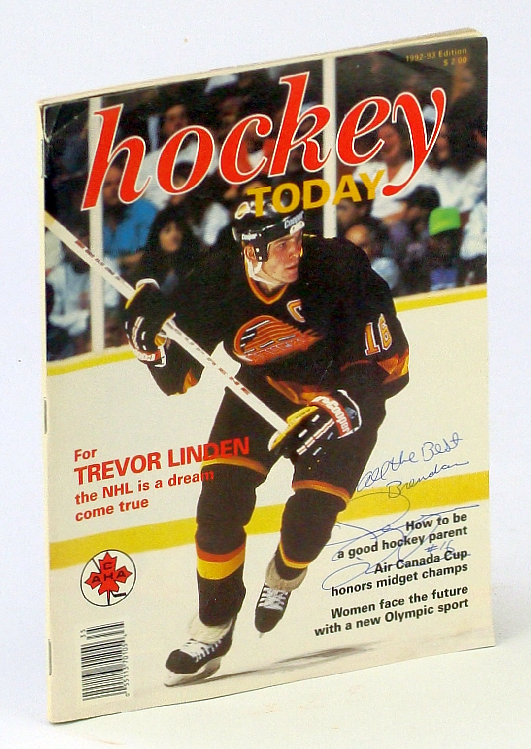 Image for Hockey Today Magazine, 1992-92 Edition: Signed Trevor Linden Cover Photo