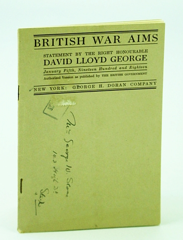 Image for British War Aims - Statement By the Right Honourable David Lloyd George, January 5th, 1918
