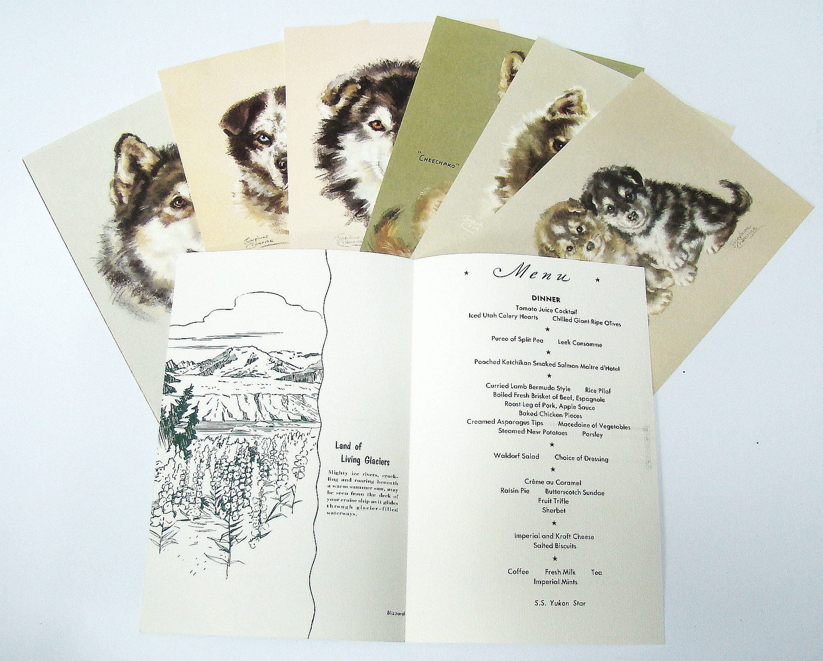 Image for Collection of Eight Cruise Menus, Circa 1940s, from the S.S. Yukon Star - Alaska Cruise Lines,  Featuring Dog Illustrations By Josephine Crumrine