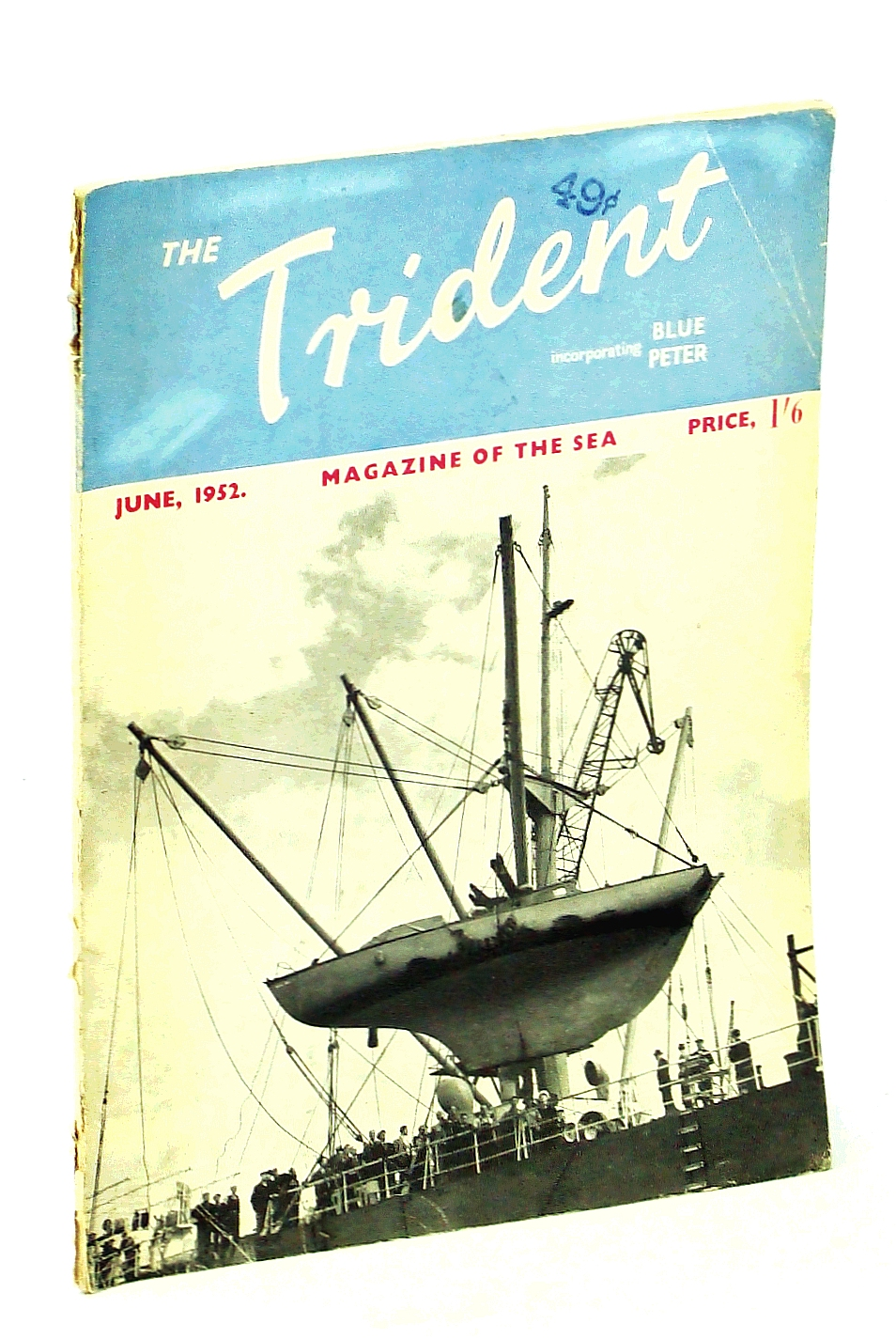 "Image for The Trident [Magazine] Incorporating Blue Peter - Magazine of the Sea, June 1952, Vol. 14, No. 158 - Cover photo of the Yacht ""Samuel Pepys"" Being Hoisted Aboard the Royal Mail Ship ""Brittany"""