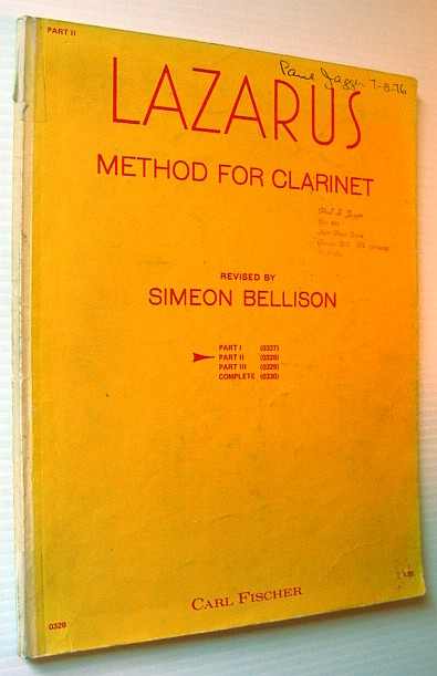 Image for Lazarus Method for Clarinet - Part II (Two)