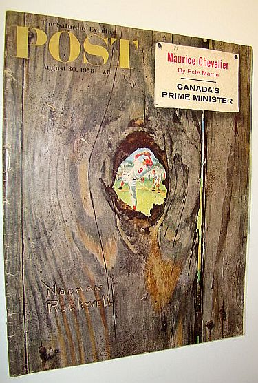 Image for The Saturday Evening Post, August 30, 1958 - Maurice Chevalier / John Diefenbaker / Iconic Norman Rockwell Knothole Cover Illustration